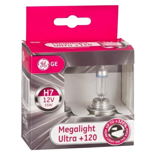 Bec auto halogen far H7 Megalight Ultra GE, 12V, 55W, 2 Buc