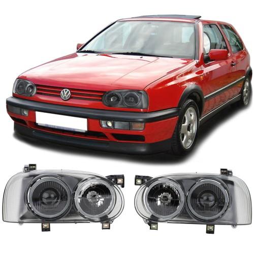 Faruri Hella Twin look fumuriu VW Golf 3 cu lupa NOU