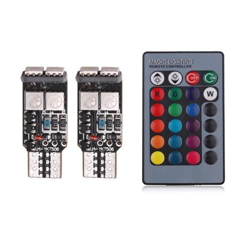 Bec pozitie RGB CU TELECOMANDA - T10, 6 LED SMD 5050 RGB 12V (pret/set)