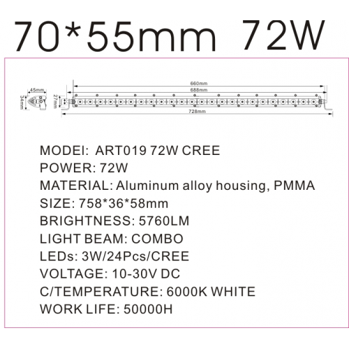 Proiector LED 72W COMBO 12/24V